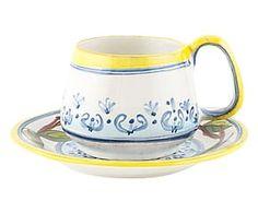 Tazza con piattino in terracotta Limoni - 11x11x11 cm