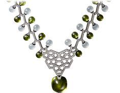 Collar Alta Joyería Oro blanco, peridoto, cuarzo, laca, diamantes