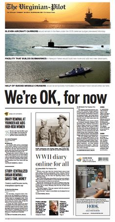 The Virginian-Pilot's front page for Tuesday, Feb. 25, 2014.