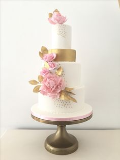 Pink and gold dot wedding cake with sugar roses and peonies by Blossom & Crumb