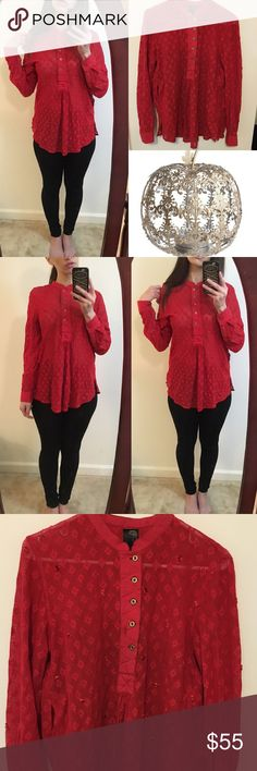 Gorgeous free people New Romantics red blouse FP New Romantics collection beautiful red blouse. In excellent condition. Size small. For reference I am 5'7 and currently wear a size 6. Free People Tops