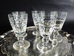 Vintage Stuart Crystal Cordial Glasses, Arundel Cut, Sherry Glass, Port, Crystal Liqueur Stemware, Wedding Gift, Set Glasses by CuriosAnCollectibles on Etsy