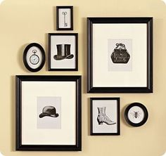 Vintage wall prints. Would look great in an entry way. Next to coat rack? In walk in closet?
