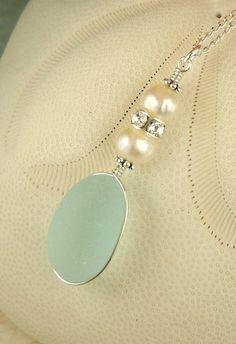 GENUINE Blue English Sea Glass Jewelry
