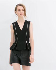 Image 2 of PEPLUM TOP WITH ZIPS from Zara