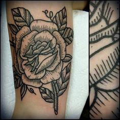 Tattoo by Zack Taylor   Tattoo Artist at Evermore Tattoo in Los Angeles, CA. www.Machine-13.com   machine13tattoo@gmail.com #tattoo #tattoos #traditionaltattoo #tattooartist #tattooer #traditional #ink #zacktaylor #tattooing #greattattoo #bold #oldschool #artwork #losangeles #machine13  #rosetattoo #rose #woodcut #woodenrose