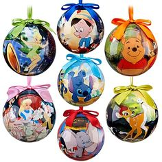 World of Disney Ornament Set -- 2011 Disney Pinocchio Dumbo Bambi Stitch Winnie the Pooh Tinker Bell Alice in Wonderland Disney Christmas Decorations, Mickey Christmas, Christmas Ornament Sets, Noel Christmas, Xmas Ornaments, Christmas Balls, Christmas Ideas, Peanuts Christmas, Christmas Stuff