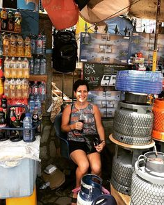 Day 10 #bpsewvember : Everyday. Here I am at the Makola market in Accra, Ghana where the kind store owner offered me his plastic chair to sit on while I enjoyed the Pepsi we bought from him, before I needed to return his glass bottle.  The Everyday style here is casual and chilled, I'm in a #willowtank by #grainlinestudio made from Ghanaian brand #Woodin fabricshe_thrives_and_sewswoodin,willowtank,grainlinestudio,bpsewvember