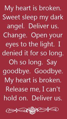 Evanescence - My Heart is Broken - song lyrics, song quotes, songs, music lyrics, music quotes,