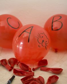 This #alphabet balloon #game challenges your child to say the name of each letter thrown his way, while keeping all of the #balloons off the ground!  Could be modified for spelling words of the week!  Or sight words :0)