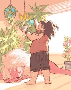 Of course Steven from Steven Universe would be into plant stuff. Steven Universe / Art / Cartoon Network / Steven / Art / head Cannon / art / old Steven / Steven art / Httyd, Fan Art, Universe Art, Animation, Cartoon Network, Character Design, Character Inspiration, Fandoms, Adventure