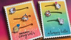 2 triple slider cards using Distress Oxide Inks & Mama Elephant stamps