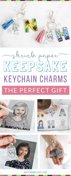 This easy to make Mother's or Father's Day craft for kids is the perfect homemade keepsake to give to mom, dad, grandma or grandpa. Use Shrinky Dinks to create a DIY initial and headshot keychain - they're simple to make but totally unique. Anyone can mak Diy Gifts For Grandma, Birthday Gifts For Grandma, Gifts For Kids, Mom Gifts, Sister Birthday, Father Birthday, Shrinky Dinks, Diy Gifts For Christmas, Toddler Christmas
