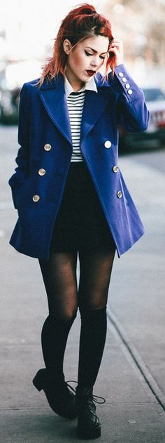 Royal Blue Peacoat Fall Street Style Inspo women fashion outfit clothing stylish apparel @roressclothes closet ideas