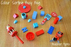 7. Colour Sorting Bag Another simple and easy idea – gather some small toys from around your home (try to choose items your child hasn't played with for a while). Choose items of two different colours for your child to name and sort.