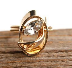 Vintage Rhinestone Ring Adjustable 14K Gold Plated by Maejean Vintage, $16.00
