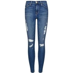 FRAME DENIM Distressed Skinny Jeans (930 BRL) ❤ liked on Polyvore featuring jeans, pants, bottoms, jeans/pants, calças, med wash, super distressed skinny jeans, destroyed jeans, skinny leg jeans and super skinny jeans
