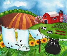 Farm Landscape Painting Cat Folk Art Rustic Red Barn Country Chic ...