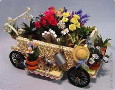 quilled flower cart with garden tools  Gallery.ru / Фото #34 - Объемные вещи - COBECTb
