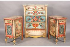 396: 3 PCS PETER HUNT PAINTED FURNITURE GARDEN : Lot 396