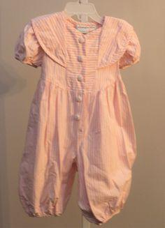 a99ce8da9e Lilli 18 Months Pink White Striped Short Sleeve Sailor Collier Bubble Romper  One  Lili