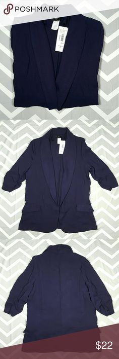 Aqua Bloomingdales blazer NWT never worn, lightweight, sleeves have ruching, 2 pockets still sewn shut, has no button closure.  Armpit to armpit 20.5 Shoulder to shoulder 15 Length 29 Sleeve 17.5 Aqua Jackets & Coats Blazers