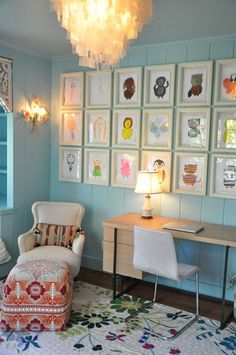 fab way to decorate your home office using your children's artwork seen at http://www.mbzinteriors.com