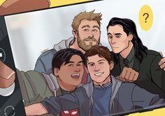 Thor, Loki, Ned and Peter Loki Thor, Marvel Heroes, Marvel Avengers, Avengers Memes, Marvel Jokes, Marvel Funny, Marvel Drawings, Marvel Fan Art, Marvel Cinematic Universe