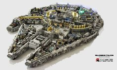 You need 10,000 pieces to build a Minifig-scale Lego Millennium Falcon. By Titans Creations. #LEGO