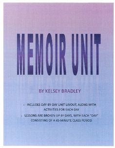 This memoir writing unit has everything from start to finish! Use this unit plan to engage the students in memoirs - reading sample ones, brainstorming topic ideas, creating comics based on memoirs, and finally, writing their own! I have included a grading rubric for the memoir, along with notes on the characteristics of a memoir, peer editing guidelines, and notes for the students as they are writing their own memoir.