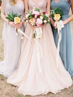 Bridesmaid dresses in soft colors