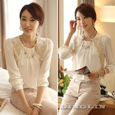 Fashion Korean Women's Long Sleeve Embroidered Chiffon Casual Tops Blouse White Shirt Pullover Clothing S M L Free Shipping 0777-in Blouses ...