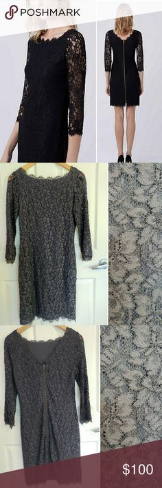 """DVF """"Zarita"""" Gray Lace Mini Dress SZ 8 EUC DVF Diane Von Furstenberg Zarita lace mini dress with raw edge trim throughout, bateau neck and exposed zip closure at center back. The ultimate party dress! Jersey lining. Fit runs small. Smoke / pet-free home. Fast shipping - same or next day. Thanks!  Fancy enough for a wedding and can be dressed down for a nice lunch / date night.  Measurements:  Shoulder seam to shoulder seam: 13 inches Armpit to armpit: : 16 inches Length: 34 inches Diane von…"""