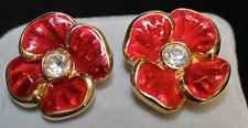 Vintage CHRISTIAN DIOR Red Pansy Flower Enamel Crystal Earrings