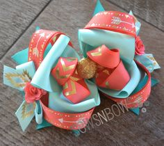 Southwest Style Hair Bow in Coral and Teal with Gold Accents + How To Stiffen Hair Bows SewsNBows Hair Ribbons, Diy Hair Bows, Making Hair Bows, Diy Bow, Ribbon Bows, Hair Bow Tutorial, Boutique Hair Bows, Diy Hair Accessories, Cheer Bows