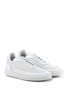 Mariano Di Vaio - Sneakers - Uomo - Sneaker in pelle e pelle micro forata con suola in gomma. Tacco 25. - BIANCO - € 210.00