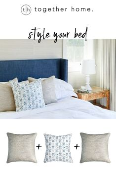 Pillow combos for your bedroom. Pictured here shimmer linen cover and blue tile cover. Furniture, Home, Printed Pillow, Tile Covers, Pillow Combos, Bed, Pillows, Blue Tiles, Blue Pillows