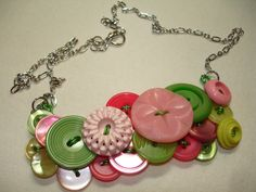 THINK SPRING - Button Necklace - Vintage Button Jewelry - PINK and Green Necklace. $32.00, via Etsy.
