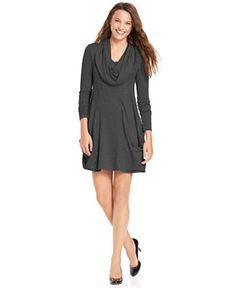 kensie Dress, Long-Sleeve Cowl-Neck A-Line - Dresses - Women - Macy's