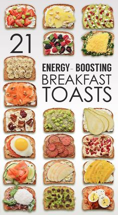 21 Ideas For Energy-Boosting Breakfast Toast cream cheese ricotta mozzarella pomegranate feta avocado walnuts sliced almonds garbanzo beans blue cheese pear dates lox
