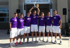 WNMU men's tennis celebrating their 2014 RMAC Tournament victory