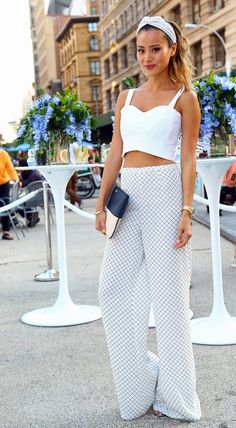 Should try this in the summer - wide leg trousers + white crop