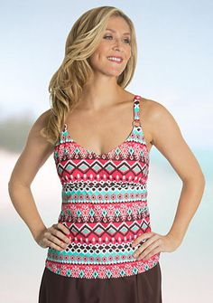 Beach Diva Ethnic Groove D Cup Tankini and Signature Solid Solid Hipster Collection