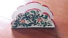 Italian Sicilian Handpainted Signed Pottery Napkin or Letter Holder by CottageWelcome on Etsy