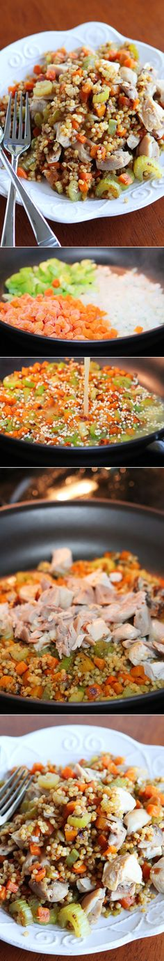 Easy Chicken and Couscous Skillet Dinner.