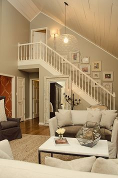 Two Story Great Room Decor Huge Fireplace Mantel Decorating - Decorating rooms with vaulted ceilings