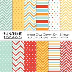 INSTANT DOWNLOAD - 12 Vintage Circus Digital Paper Pack Chevron Stipes Polka Dot for scrapbooking, decorations, invitations, backgrounds. $3.99, via Etsy.