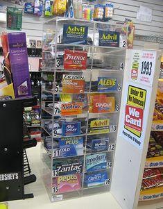 Single dose medicine dispenser or display, holds up to 16 varieties.