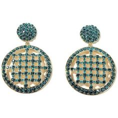"""AKKAD """"The Divine"""" Blue Zircon-Color Crystal Blue Enamel Round Drop Earrings"""