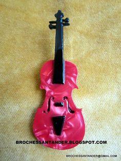 Broche Violin en acetato. Brochessantander.blogspot.com